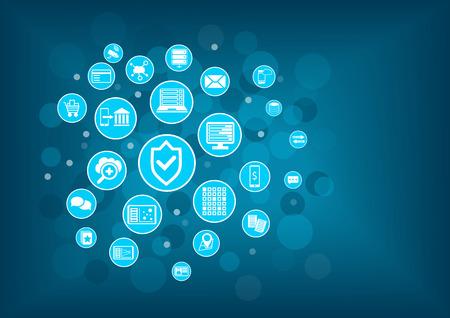 technológiák: IT biztonsági koncepció háttér Illusztráció