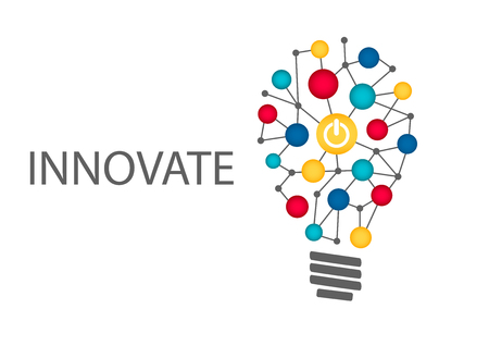 technologies: Innovate business concept background. Light bulb with power on button as symbol for innovation