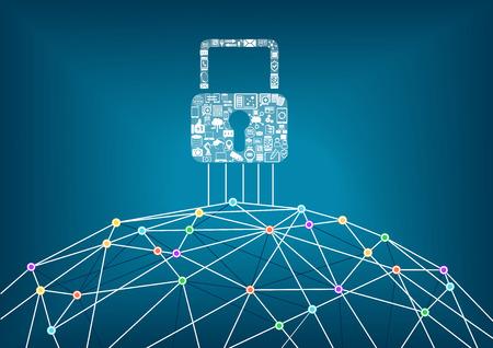 caja fuerte: IT Global concepto de protección de la seguridad de los dispositivos conectados. Fondo del mundo wide web con líneas que conectan puntos.