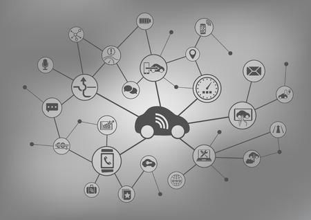 car security: Connected Car Concept. Vector illustration background.