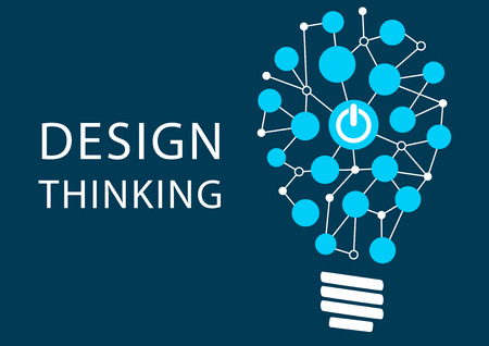 lightbulb idea: Design Thinking concept. Vector illustration background of new methodology for problem solving