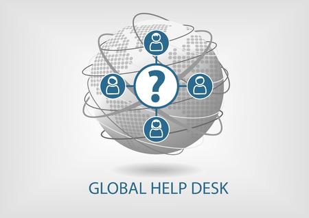 service desk: Global Help Desk concept vector icon
