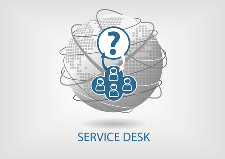desk: Global Service Desk concept vector icon Illustration