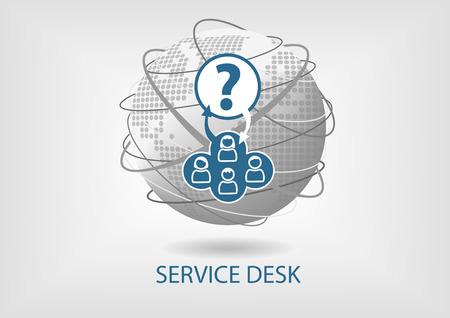 Global Service Desk concept vector icon Illustration