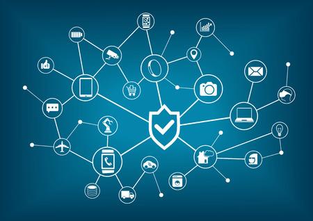 物事のインターネットのセキュリティの概念。コネクテッド インターネット デバイスの背景