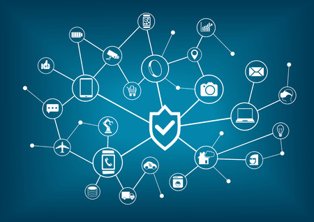 Internet of Things security concept. Background of Connected Internet Devices Çizim