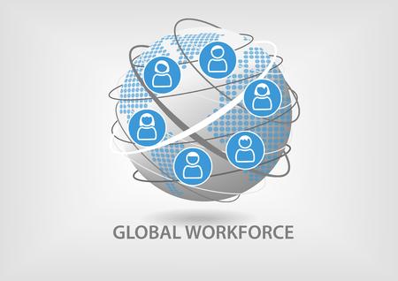 グローバル労働力の概念。従業員のアイコンと共に協調チームワークのイラスト