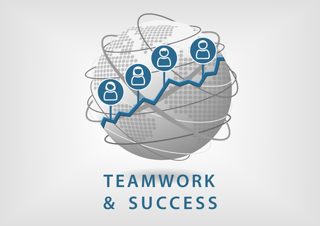 successful: Teamwork leads to business success and growth concept. Vector illustration of globe with people symbols