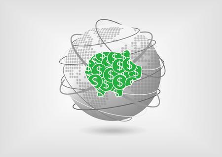global savings: Piggy bank as concept for global savings with green dollars Illustration