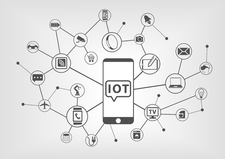 Internet of Things IOT concept of connected devices with smart phone as central device to control smart objects