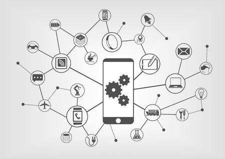 Automatisation industrielle intelligente et Internet of Things notion illustration vectorielle. Fond d'icônes des périphériques connectés
