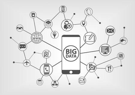 Big data and mobility concept with connected devices like smart phone. IT symbols on gray background.