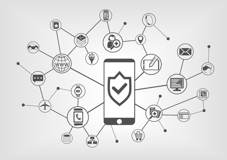 it background: Mobile security concept for smart phones. Vector illustration background with connected IT symbols