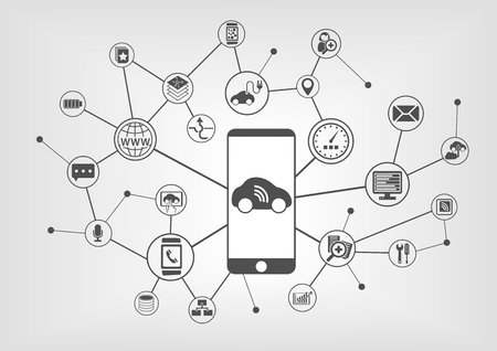 car icons: Digital Mobility concept with connected devices: such as car, smart phone. Vector icons on gray background Illustration