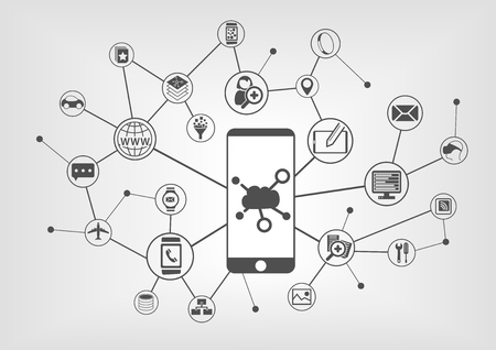 Cloud computing concept for connected mobile devices. Vector icons on gray background