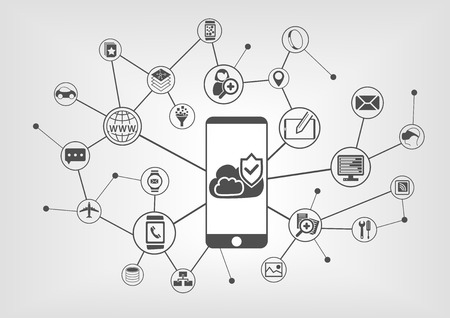 cloud computing technologies: Cloud computing security concept for smart phones. Vector illustration background with connected IT devices