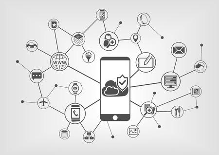infraestructura: Nube concepto de seguridad de la computaci�n para los tel�fonos inteligentes. Ilustraci�n vectorial de fondo con los dispositivos inform�ticos conectados