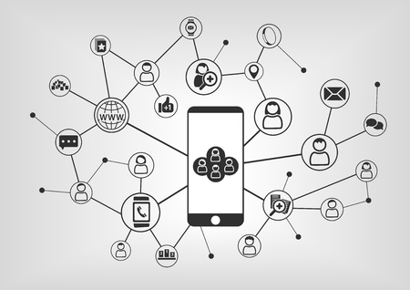 digitization: Smart phone to connect to social network. Connected devices and people as vector illustration with icons