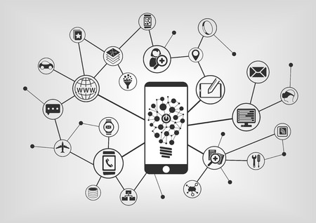 Innovative Mobile Technology. Smart phone connecting to mobile devices. Vector illustration with IT icons