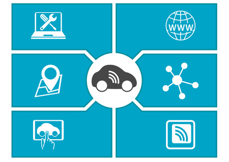 Vernetztes Auto und Digital Mobility-Konzept. Vektor-Illustration.