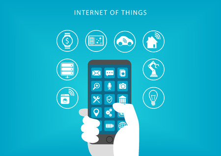 Internet of Things concept. Vector illustration of hand holding smart phone and connecting to devices. Illusztráció