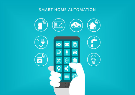 connecting: Smart Home Automation concept. Vector illustration of hand holding smart phone and connecting to home appliances.