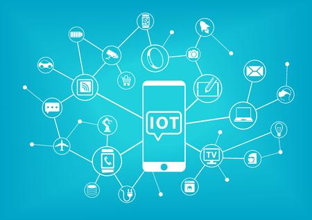 IOT Internet der Dinge Konzept. Mobiltelefon mit dem Internet alles verbunden. Illustration