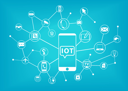 internet: IOT Internet of Things concept. Mobile phone connected to the internet of everything.