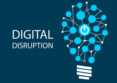 Digital disruption concept. Vector illustration background for innovation IT technology. Represented by light bulb Çizim