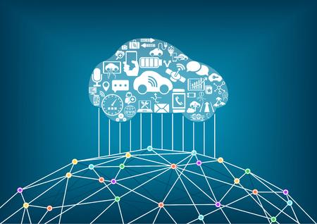 conectar: Conectado concepto de coche sin conductor. vehículo inteligente conectado a la World Wide Web como ilustración vectorial.
