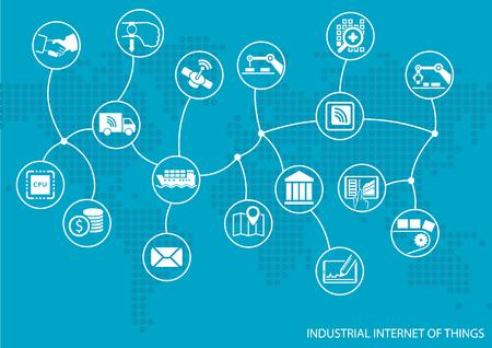 Industrie Internet der Dinge IOT Konzept. Weltkarte der verbundenen Wertschöpfungskette von Waren einschließlich Automatisierung von Geschäftsprozessen