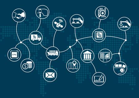 Dunkle Information Technology Hintergrund mit Weltkarte. Illustration
