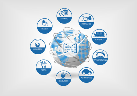 Digital business illustration. Icons of global digital industries like banking, insurance, logistics, manufacturing, retail