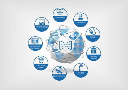 Digital business models for global economy.   icons for different industries like life sciences, consumer goods, telecommunications, energy and financial services