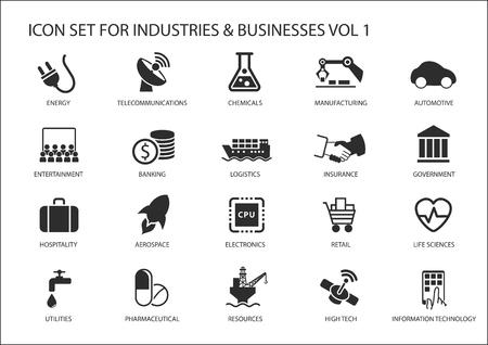 Ícones de negócios e símbolos de vários setores de setores de indústrias como a indústria de serviços financeiros, automotivo, ciências da vida, recursos da indústria, indústria de entretenimento e alta tecnologia