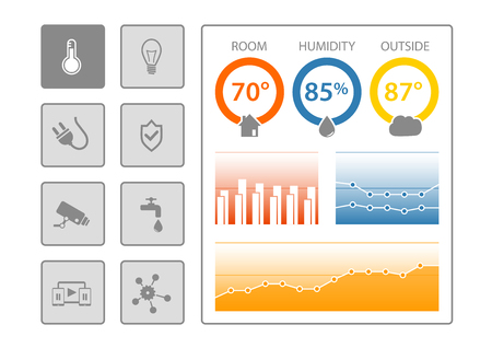 humidity: Smart Home Control Dashboard  illustration on isolated background. Illustration