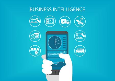 concept d'intelligence d'affaires avec la main tenant un téléphone intelligent moderne, y compris l'analyse prédictive tableau de bord.