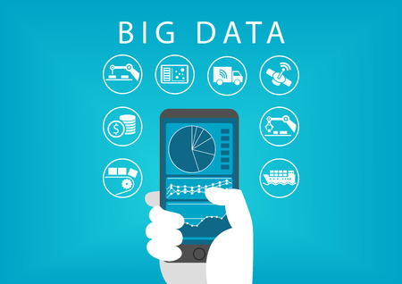 hand holding smart phone: Hand holding smart phone with mobile data analysis dashboard for big data. Concept of different Businesses and industries.