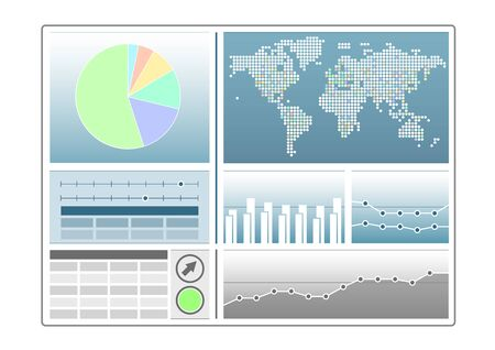 web portal: Analytics dashboard template with pie chart, world map, LineChart as vector illustration
