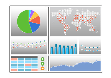 monitoreo: Tablero de instrumentos con diferentes tipos de gráficos como gráfico circular, mapa del mundo, diagrama de barras, de líneas, tablas e indicadores en diseño plano como ilustración vectorial Vectores
