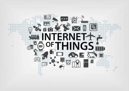 Internet concept Things IOT avec la carte du monde et les appareils connectés comme illustration vectorielle avec différentes icônes d'objets