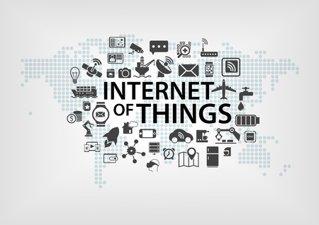 Internet of Things IOT concept with world map and connected devices as vector illustration with various icons of objects Vettoriali