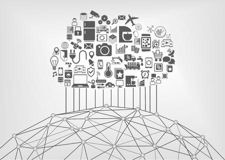 conexiones: Internet de las cosas IOT y la computación en nube concepto de los dispositivos conectados en la red mundial. Ilustración del vector con los iconos