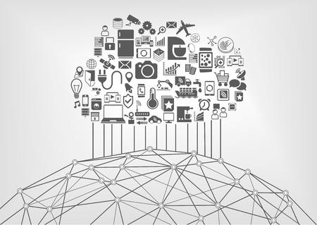 Internet of Things IOT en cloud computing-concept voor de aangesloten apparaten op het world wide web. Vector illustratie met pictogrammen