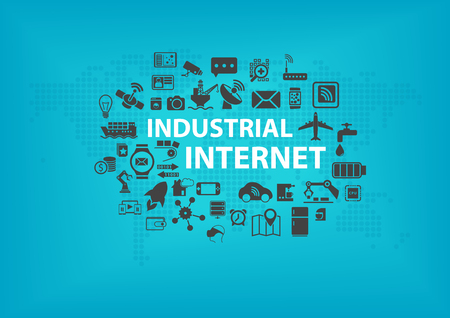 Industrial Internet IOT concept with world map and icons of connected devices with blue background Ilustracja