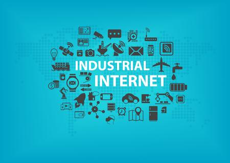Industrial Internet IOT-Konzept mit Weltkarte und Ikonen der angeschlossenen Geräte mit blauem Hintergrund