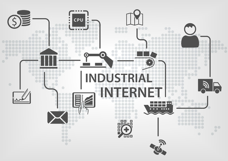Industrial Internet IOT concept with world map and process flow for business automation of industries. Stock Illustratie