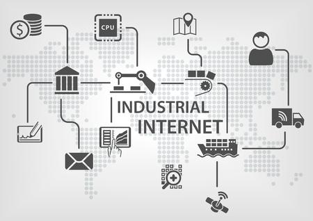 Industrial Internet IOT-Konzept mit Weltkarte und Prozessablauf für die Automatisierung der Geschäftsprozesse von Branchen. Illustration