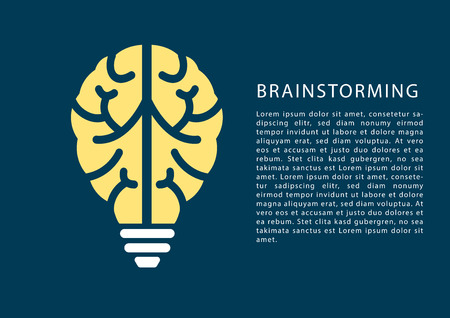 brainstorming: Brainstorming concept with brain and light bulb icon and text as template. Illustration