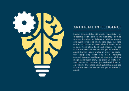 Machine Learning and Artificial Intelligence concept with brain and light bulb icon and text as template. Vector Illustration